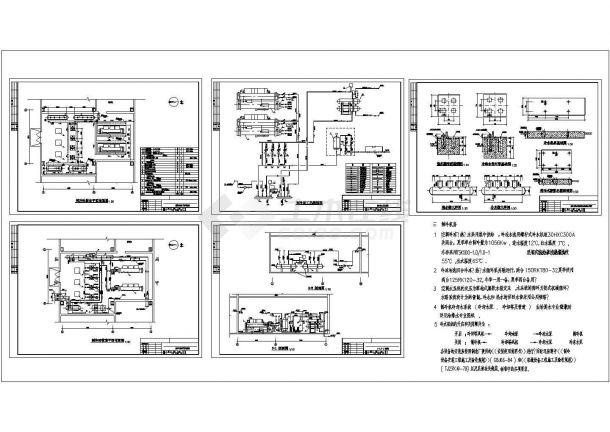 某水冷螺杆机制冷机房设计cad全套施工图(含详细技术参数)-图一