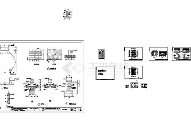 某景观工程一层徽派仿古厕所设计cad全套建筑施工图(甲级院设计)-图二