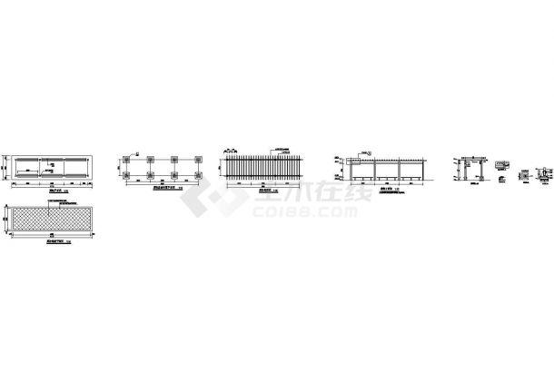某园林工程小品-防腐木廊架设计cad全套施工图(甲级院设计)-图一