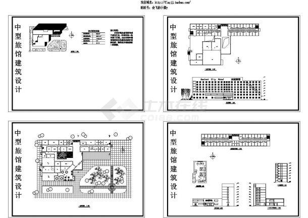 11773平米7层中型旅馆综合楼建筑设计施工cad图纸,共四张-图一