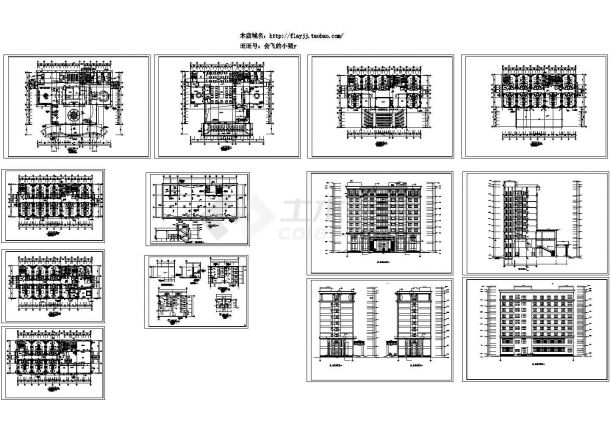 10层宾馆综合楼规划设计建筑施工cad图纸,共十三张-图二