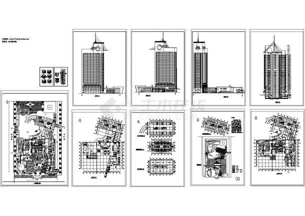 32层三星级宾馆综合楼规划设计建筑施工cad图纸(含地下二层,共十一张)-图一
