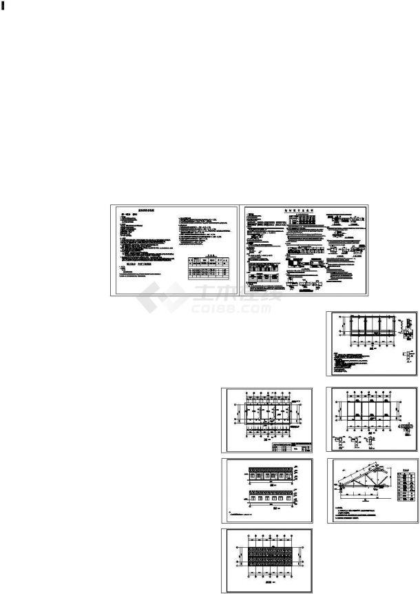 某砖混钢木屋架结构设计cad施工图-图二