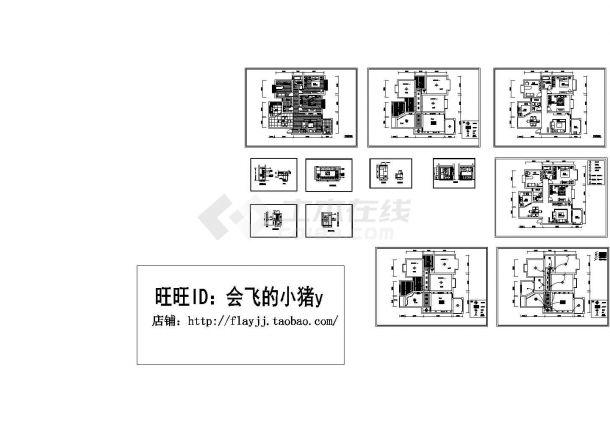 某地3室2厅套房户型全套装修施工cad图【平面图 室内立面】-图一