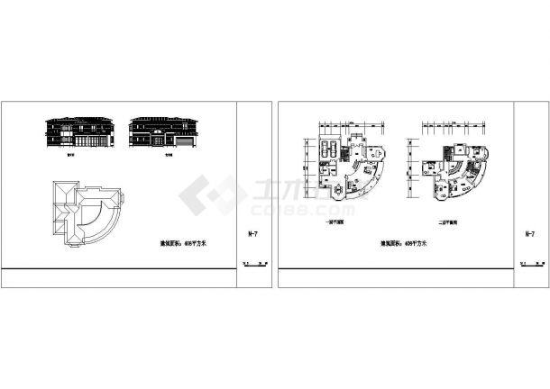 农村独栋别墅装修设计CAD图纸-图一
