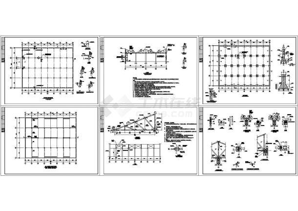 采用木屋架混凝土车间结构cad施工图-图二