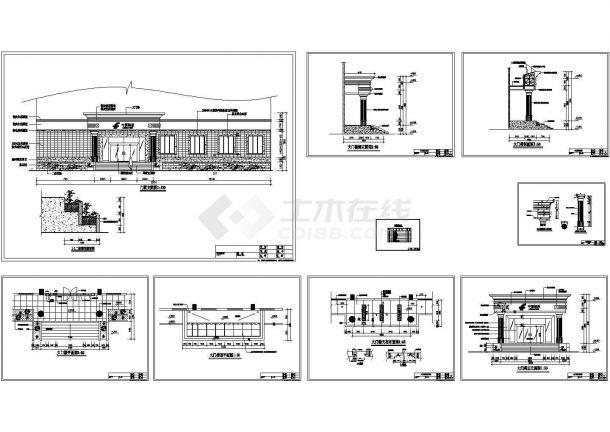 某地区邮电大楼建筑前门楼施工方案CAD图-图一