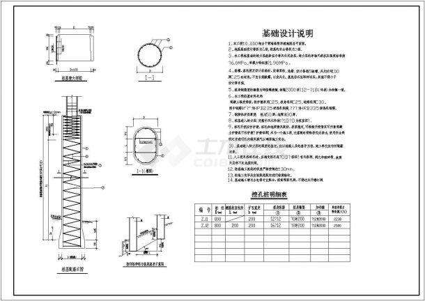 钢筋混凝土柱下挖孔桩基础节点构造详图-图二