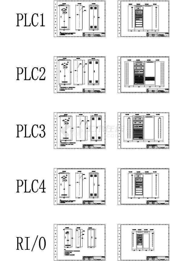 典型PLC控制柜柜体结构及布置cad控制原理图(标注详细,含5种规格设计)-图一