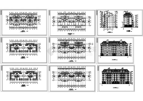 6层小区家属住宅楼建筑设计CAD施工图(含半地下室设计)-图一