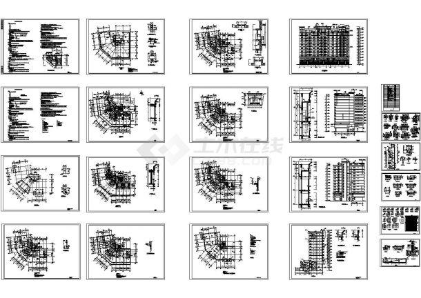 某1万平米十二层高层商住楼建筑施工图纸(CAD,22张图纸)-图一