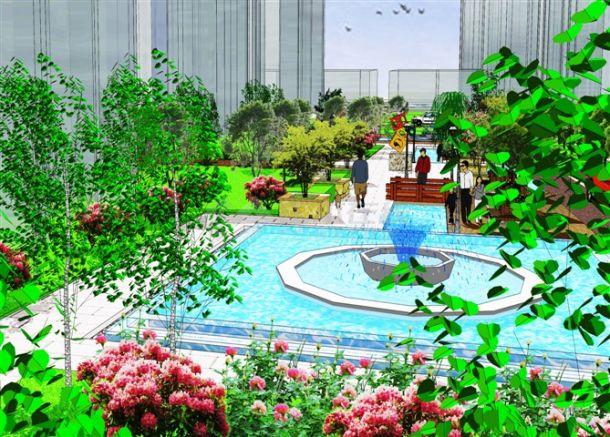 现代风格小区景观设计方案-图二