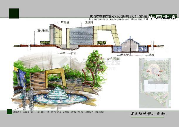 北京小区景观设计方案图纸-图二