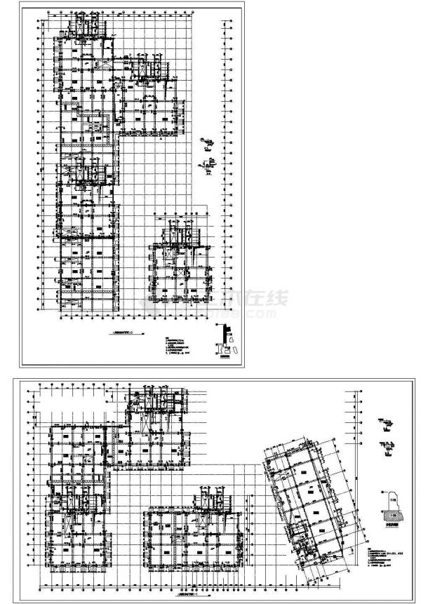 某高层办公楼框架结构cad施工建筑设计图纸-图一