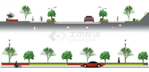 某地区道路绿化设计方案园林施工图(效果图 10张)-图一