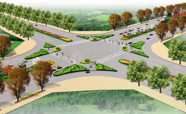 某地区道路绿化设计方案园林施工图(效果图 10张)-图二