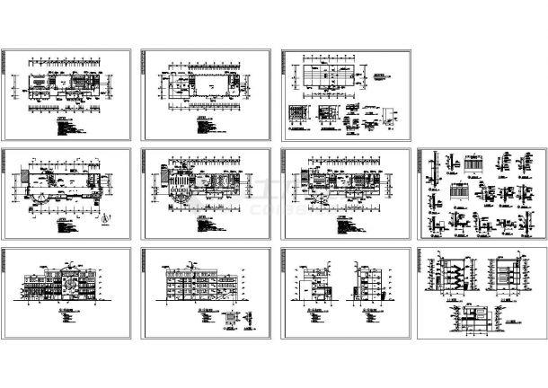 某小学多功能教学楼全套建筑施工cad图(含语音教室电缆沟布置图)-图一