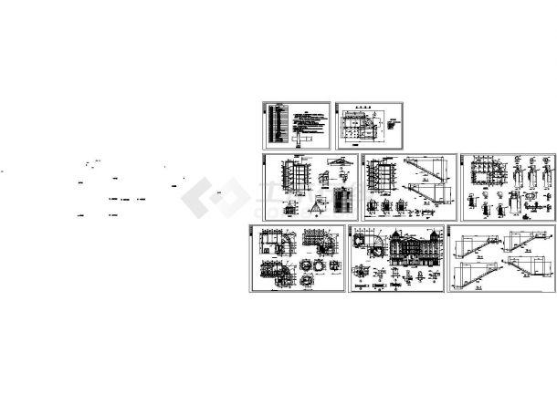 1720平米5层框架结构大酒店建筑设计CAD施工图-图一