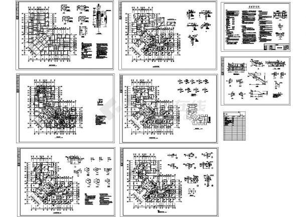 重庆某8层办公楼结构cad施工图-图一