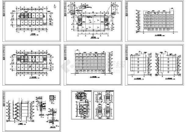 某多层框架剪力墙结构宿舍楼建筑设计cad全套施工图(标注详细)-图一