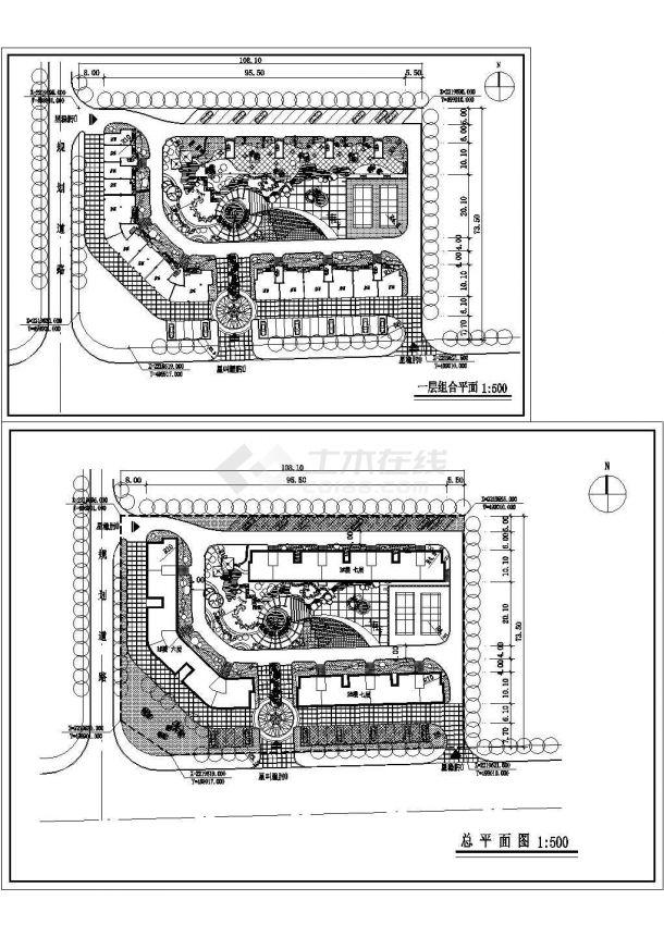 某长方形地块住宅小区规划设计cad总平面图(甲级院设计)-图一