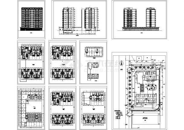 某小高层框架剪力墙结构住宅楼设计cad全套建施图(含总平面图)-图一