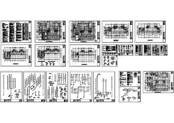 某规划院高层框架结构住宅楼给排水设计cad全套施工图(含设计说明,含消防设计)-图一
