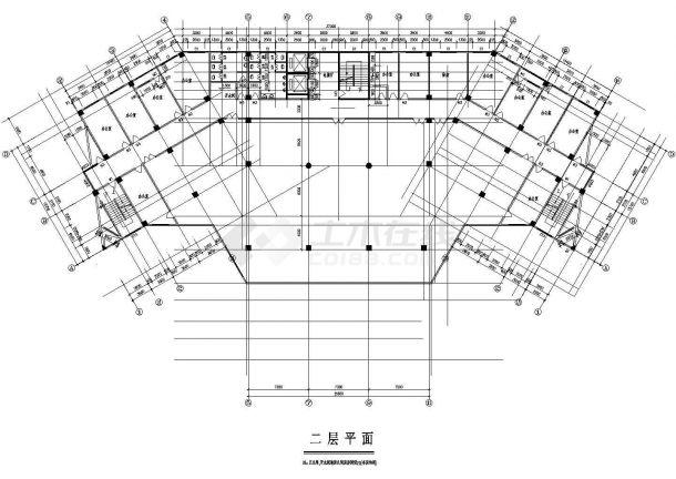某地上十五层框架结构政府办公大楼设计cad全套建筑施工图(标注详细)-图一