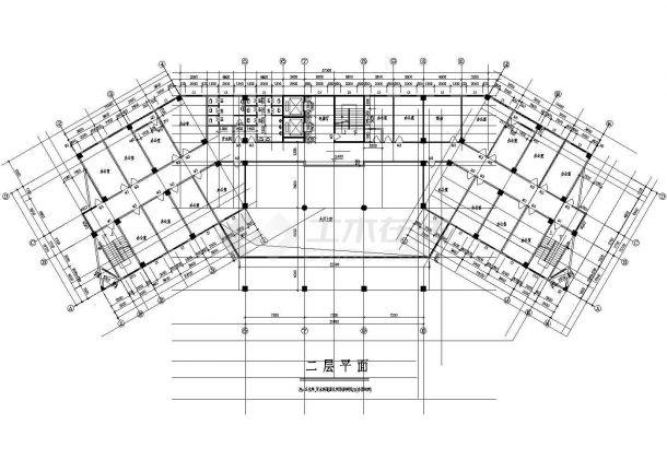 某地上十五层框架结构政府办公大楼设计cad全套建筑施工图(标注详细)-图二
