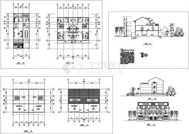 某地多层新农村住宅全套设计方案cad图纸(含屋顶平面图,立面图)-图一