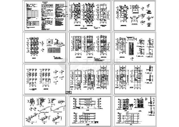 四层框架别墅结构cad施工设计图-图一