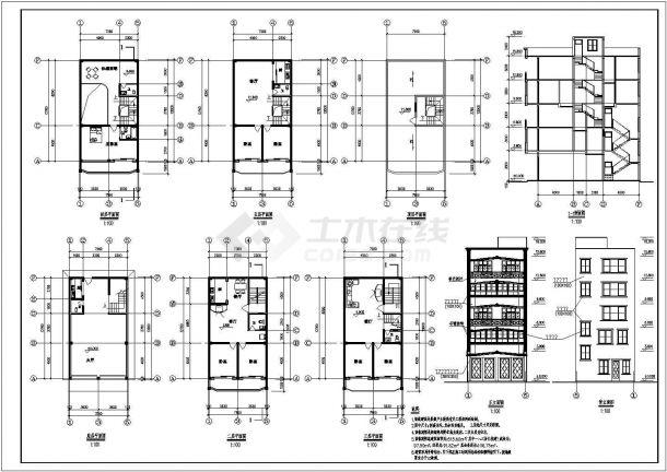 某多层框架结构私人住宅楼建筑设计CAD全套施工图纸(含设计说明)-图二