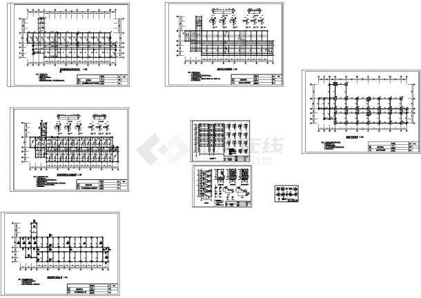 五层框架结构教学楼结构施工CAD图(含计算书)-图一