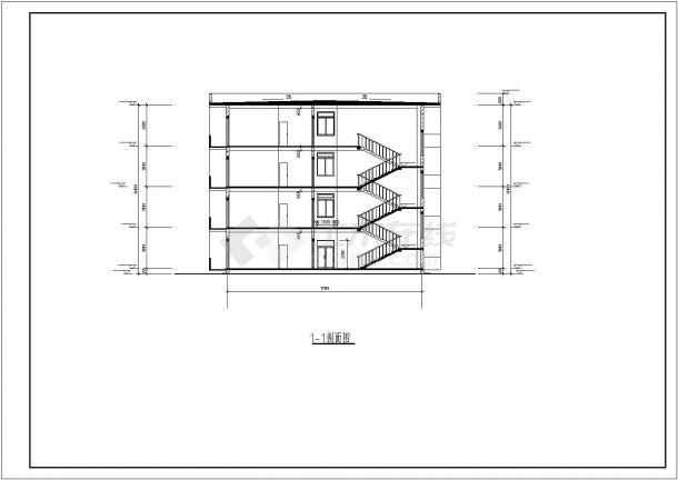 宿舍楼四层职工设计(计算书,建筑图、结构图纸全套)(CAD,20张图纸)-图二