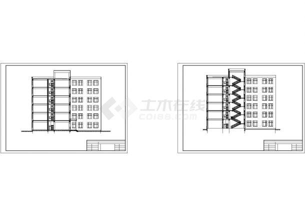 6层框架凹字形教学楼毕业设计CAD图(计算文件、部分建筑、结构图)-图二