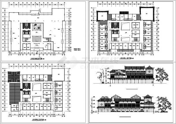 上海市闵行区某3层高档民宿客栈建筑设计CAD施工图-图一