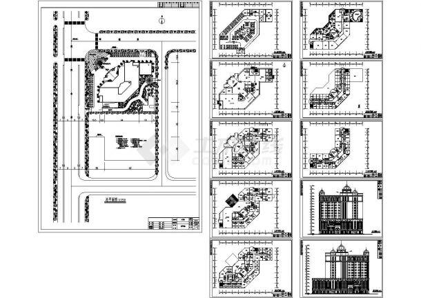 某欧式十三层大酒店建筑设计方案 cad施工图设计-图一