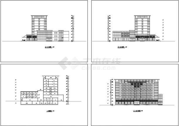 某八层酒店建筑立面方案设计cad施工图设计-图一