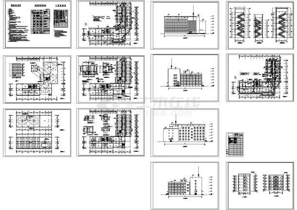 4943平米五层办公楼建筑Cad设计图纸-图一