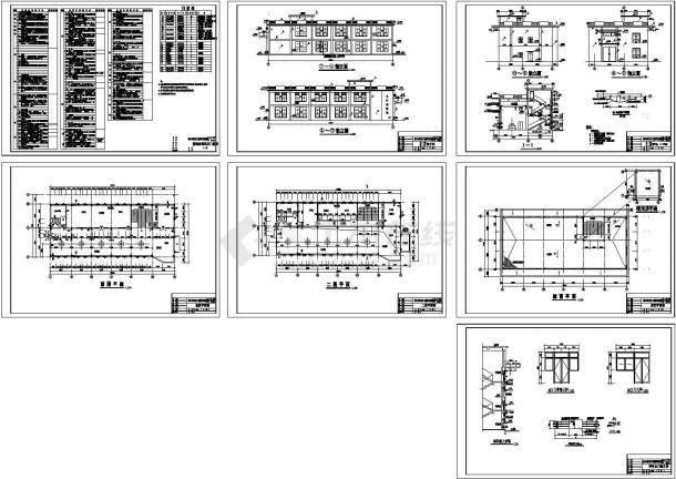 2层泵站主厂房土建施工设计CAD图【平立剖 各部分构造作法表】-图一