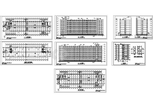 长74.68米 宽16.4米 地下1地上7层大学生公寓楼建筑施工图【平立剖 楼梯间水箱间屋顶平面图】cad施工图设计-图一