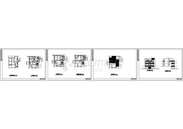 二层带阁楼住宅建筑施工cad图(含效果图,地下室设计)-图一