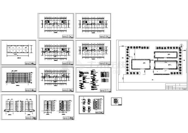 [六层]现浇混凝土框架结构教学楼cad设计施工图(标注详细,含设计说明)-图一