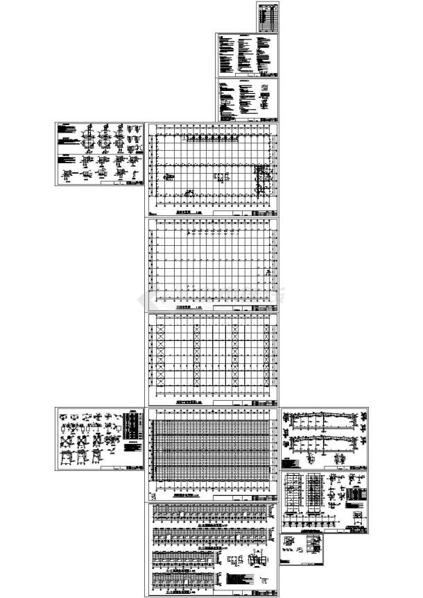 单层钢结构厂房结构cad详细设计施工图-图一
