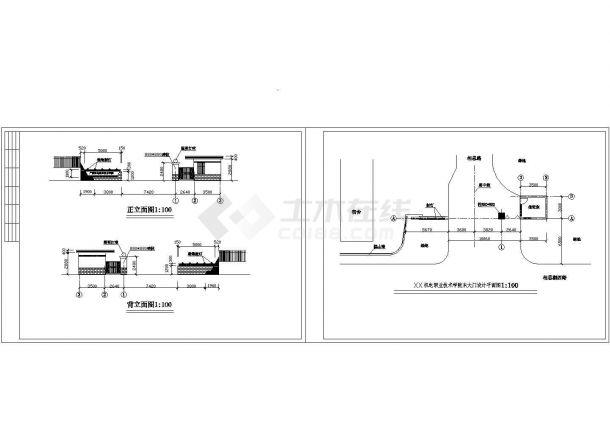 长19.23米 宽3米 机电学院大门 值班室建筑方案设计图【平立面 1JPG外观效果图】设计图-图一