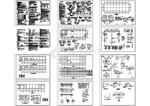 H钢钢结构厂房结构CAD施工图纸-图一