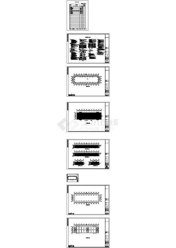 石材城钢结构厂房结构CAD施工图纸-图一