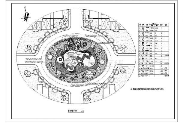 广场园林植物配置CAD平面图-图一