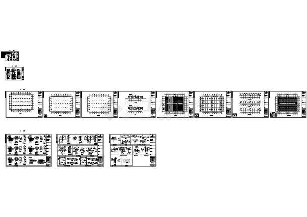 某跨度64米单层四跨门式钢结构厂房结构设计CAD图纸 -图一