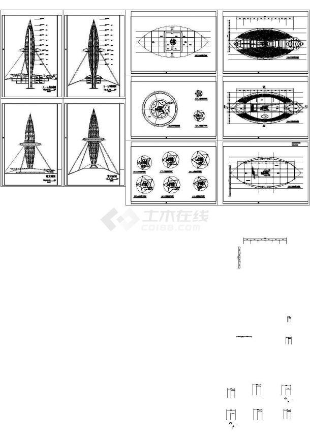 观光塔建筑设计方案图-图一